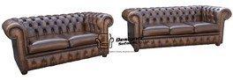 Designer Sofas4u Chesterfield 3 + 2 Antiguo Otoño marrón ...
