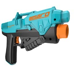 Toy Gun for Boys, Besbro Pneumatic Toy Foam Blaster with Clip, Toy Pistol with 6 Foam Bullets, Fake Gun that Look Real for Shooting Games Gift for Kids, Children