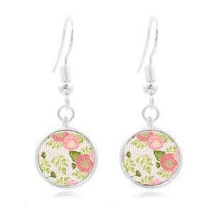 1set Watercolor Rose Tibet Silver Dome Photo 16MM Glass Cabochon Long -
