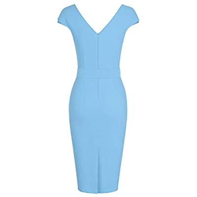 MUXXN Women's Vintage 1950s Style Wrap V Neck Tie Waist Formal Cocktail Dress: Clothing