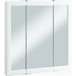 Design House 545293 Wyndham White Semi-Gloss Tri-View Medicine Cabinet Mirror with 3-Doors, 30-inches Tall by 30-inches Wide by 4.75-inches Deep
