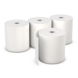 AmerCare 3 1/8'' x 220' White Thermal Register Rolls with 7/16'' Core, Case of 50 by Amercare