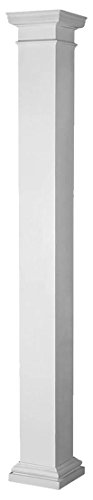 Fiberglass Columns (Endura-Stone Square Non-Tapered Column (FRP), Smooth Paint-Grade, Tuscan Capital & Base, 8