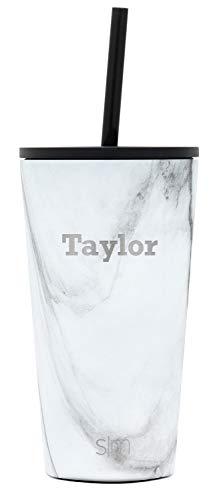 Simple Modern Personalized Gift Tumbler Custom, Classic 16oz - Straw & Flip Lid, Pattern: Carrara Marble