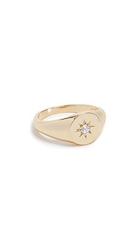 Shashi Women's Starburst Signet Ring, Yellow Gold/Clear, ()