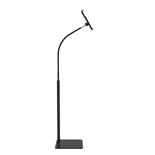 Creatop Tablet Floor Stand with Flexible Gooseneck and Stable Aluminum Base Suitable for 3.5' - 11' Smart Phone & Tablet Black
