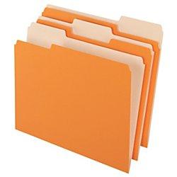 Office Depot Two-Tone Color File Folders, 1/3 Tab Cut, Letter Size, Orange, Box Of 100, OD152 1/3 ORA