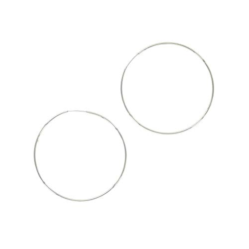 Plated Rhodium Earrings Brass - And Lovely 18K Gold or Rhodium Plated Thin Endless Hoop Earrings - Lightweight Wire Hoops (Silver, 50.00)