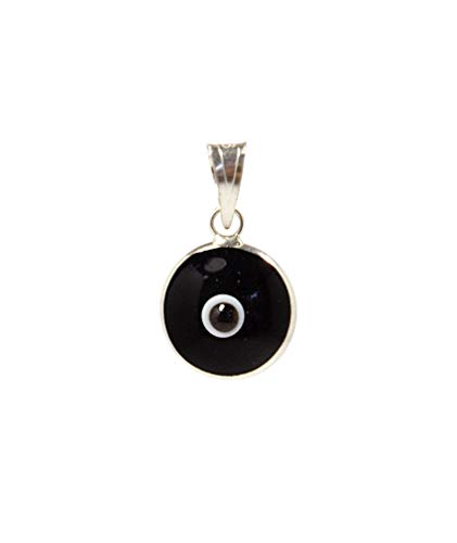 MIZZE Made for Luck Black Authentic 925 Sterling Silver 10 MM Round Glass Evil Eye Charm Pendant