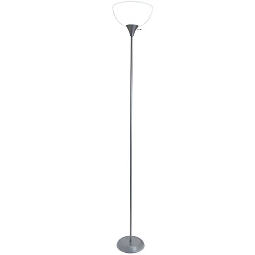 Living Accents Torchiere Floor Lamp A19 Silver Finish, 71