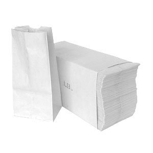 Paper Lunch Bags, Paper Grocery Bags, Durable White Paper Bags, 4 Lb Capacity, White, Pack Of 500 Bags -