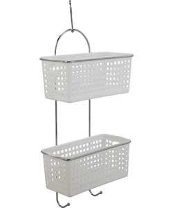 Attractive Space Saving 2 Tier Hanging Basket Caddy Bathroom Storage Unit Ideal Storage