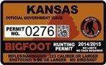"""Kansas KS Bigfoot Hunting Permit 2.4"""" x 4"""" Decal Sticker"""
