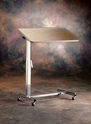 Overbed Table with Tilt-Top convenience for reading or drawing while in bed or wheelchair. Height adjustable with roll around castors
