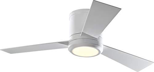 """Monte Carlo 3CLYR42RZWD-V1 Clarity II LED Ceiling Fan, 42"""", Matte White"""