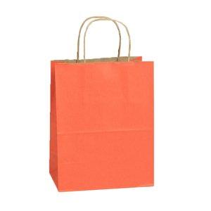 American # 56422S, Terra Cotta, Medium Shadow Stripe Shopping Bags on Kraft, Paper Shopping Bags (250 per case)