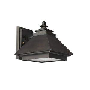 Capital Lighting 9091BB 1-Light Outdoor Wall Lantern-Dark Sky, Burnished Bronze with Rust Scavo Glass and Acid-Washed Glass Lens