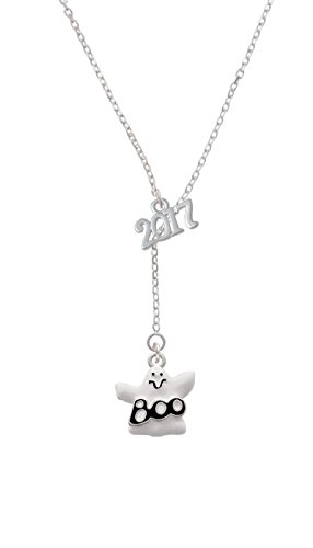 Silvertone BOO Ghost - 2017 Lariat Necklace, 18