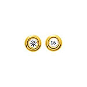 So Chic Bijoux © Boucles d'oreilles Femme Rond 3 mm Oxyde de Zirconium & Contour Epais Or Jaune 750/000 (18 carats)