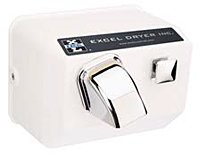 Push Button Surface Mounted 110 / 120 Volt Hand Dryer in White by Excel Dryer