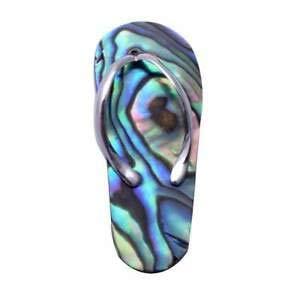 Sterling Silver Flip Flop Charm - Abalone Beach Design Sandal Flip Flop 925 Sterling Silver Charm Pendant - Jewelry Accessories Key Chain Bracelet Necklace Pendants
