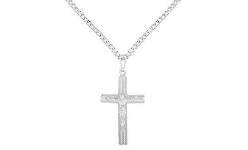 Cut Sterling Silver Tube Cross Pendant Necklace, With 3MM Italian Made Curb Chain (16 Inch) (Antique Sterling Silver Crucifix)