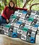 Motocross Braaap in Blue and Green Cubes Quilt Twin Size Picnics Gifts Best Decorative Unique Banklet for Traveling All Season Comforter with Cotton Quilts Beach Trips