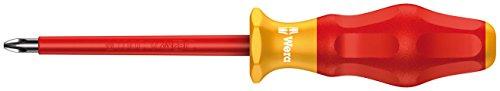 Wera 05031611001 Kraftform Comfort VDE 1165i Pozidriv Insulated Screwdriver, PZ 1 Head, 80mm Blade Length