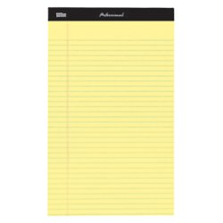 Top Sheets 50 Stitched Double (Office Depot Professional Legal Pad, 8 1/2in. x 14in, Canary, Legal Ruled, 50 Sheets, 4 Pads/Pack, 99489)