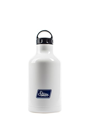 Water Bottle Stainless Steel Vacuum Insulated Wide Mouth by Shine Craft Vessels | Thermos Flask Keeps Water Stay Cold for 24 hours, Hot for 10 hours BPA Free ( Bright White ) - Squealer 32 OZ by Shine Craft Vessels