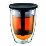 Bodum Tea For One Double 0.35-Liter Wall Glass Tea Strainer, 12-Ounce, Black