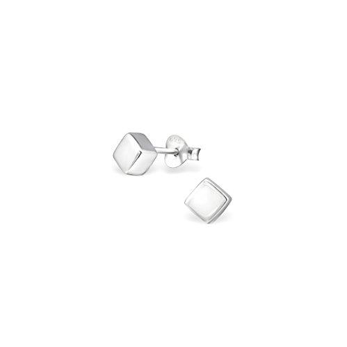 - 925 Sterling Silver Cube Plain Ear Studs