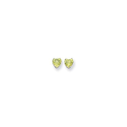 Perfect Jewelry Gift 14k White Gold 6mm Heart Peridot Earrings