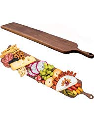 (Real walnut Wood Cheese Board with Handle by Walux, Charcuterie Platter,XL Cheese Board, Large Wooden Cheese Serving Board,Extra Large Charcuterie Board,)