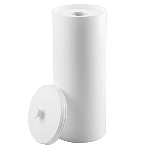 (mDesign Plastic Free Standing Toilet Paper Holder Canister - Storage for 3 Extra Rolls of Toilet Tissue - for Bathroom/Powder Room - Holds Mega Rolls - White)