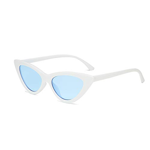 YOSHYA Retro Vintage Narrow Cat Eye Sunglasses for Women Clout Goggles Plastic Frame (White Blue) (Multi Lens Biking Glases)