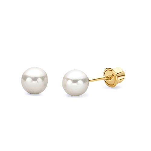 14k Yellow Gold 4mm Freshwater Cultured Pearl Stud Earrings with Screw Back
