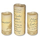 Memories of Smiles, Laughter and Sometimes Tears Set of 3 Flameless Pillar Candles