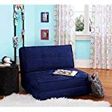 Plush Ultra Suede Trendy and Multi-functional Flip Chair with Three Convertible Space-saving Positions, Reclining Lounge Chair, Bed and Comfortable Chair, Perfect for Any Rooms, Apartment or Small Spaces, Sleepovers and Hang Outs (Blue Sapphire)