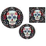 Day of the Dead Halloween Party Pack! 18 Dinner Plates, 18 Dessert Plates & 36 Lunch Napkins -