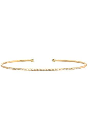 Pave diamond cuff bracelet, 14k solid gold, open diamond cuff ()