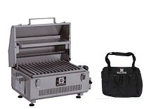 Solaire Stainless Steel Portable Grill - Solaire SOL-IR17BWR Portable Infrared Gas Grill With Free Carrying Bag & Warming Rack, Stainless Steel