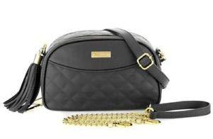 Joy & Iman, Diamond Quilted Genuine Leather Crossbody Bag with RFID, Black