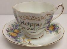 Vintage Princess Anne Fine Bone China England Remembrance Series Happy Aniversary Tea Cup and Saucer Set
