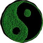 Yin Yang - Green and Black Round - Embroidered Sew or Iron on Patch
