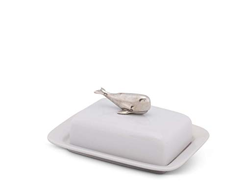 (Vagabond House Stoneware Butter Cream Cheese Dish with Pewter Whale Knob)