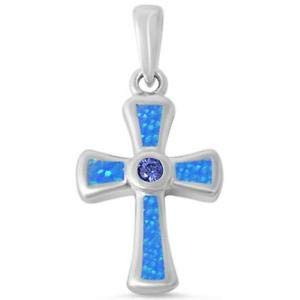 Round Tanzanite & Blue Opal Cross 925 Sterling Silver Pendant - Jewelry Accessories Key Chain Bracelet Necklace - Pendant Round Set Tanzanite