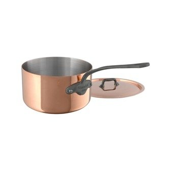 """Mauviel 6450.13 Saucepan with Lid. 0.7L/0.8 quart 12cm/4.8"""" Cast stainless Steel Handle with Iron Color Finish, Copper"""