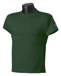Champion Boys Big Boys' Short Sleeve Jersey Tee, Dark Green, Small (Jersey Duofold Cotton)