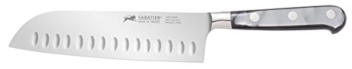 Sabatier Stainless Steel Santoku Knife with Mother of Pearl-Inspired Handle, 7-Inch by Sabatier